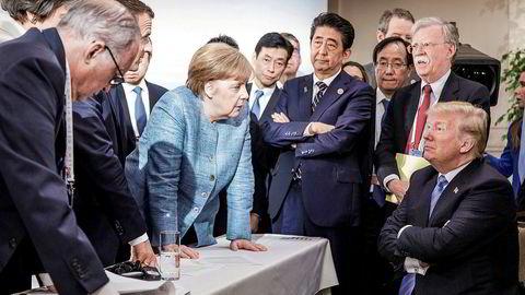Forbundskansler Angela Merkel vant ikke gehør hos USAs president Donald Trump på G7-toppmøtet i Canada. Foto: Bundesregierung/Jesco Denzel/Handout via REUTERS/NTB Scanpix
