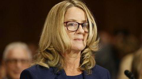 Christine Blasey Ford virket nervøs da hun møtte opp til høringen torsdag.