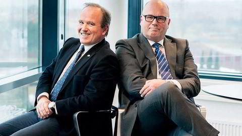 VEMODIG. – Det er litt vemodig, medgir styreleder i Schage Eiendom, Knut Schage (64)(til høyre), om salget av halvparten av Steen & Strøm. Her sammen med medeier og lillebror Bjørn Schage (55). Foto: Stina Glømmi