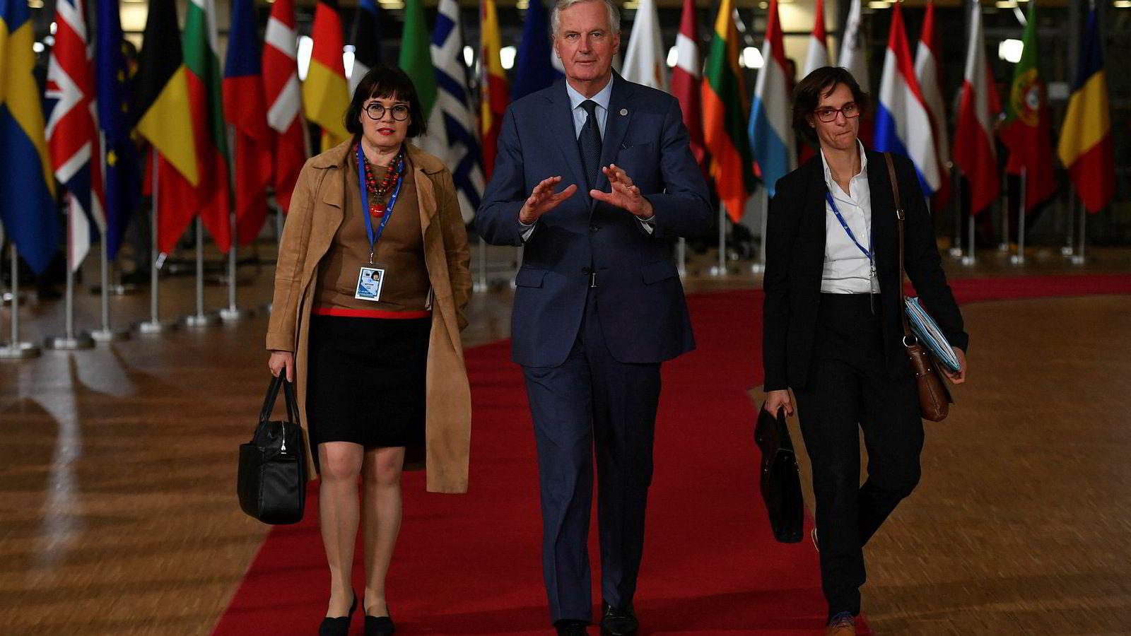 EUs forhandlingsleder Michel Barnier ankommer EU-toppmøtet i Brussel onsdag.