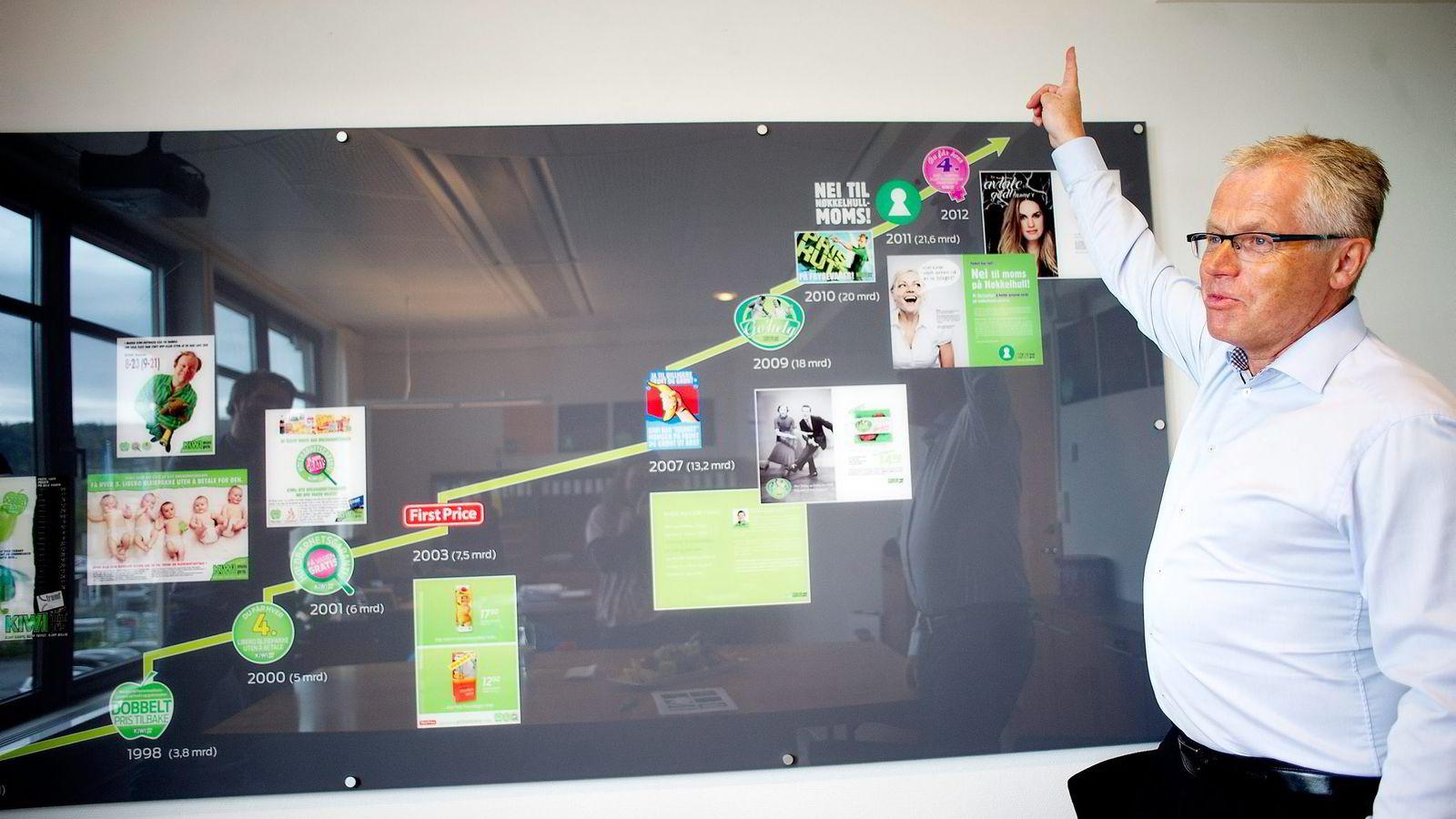 Kiwi-sjef Jan Paul Bjørkøy har høy vekstfart og nærmer seg Rema som er Norges største dagligvarekjede.