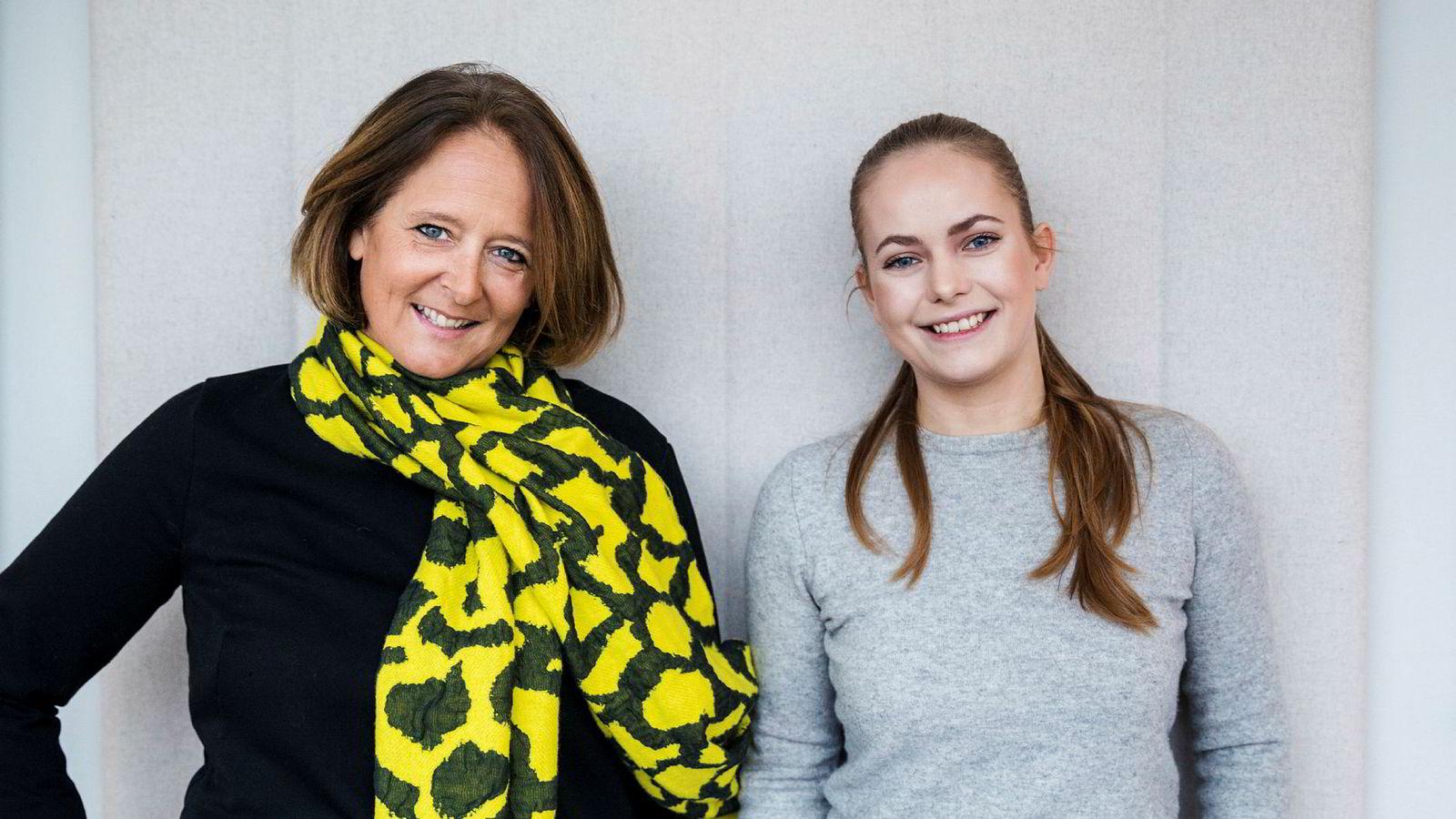 Eva Grinde (til venstre) og Nora Rydne vil ha innspill til sin nye podkast.