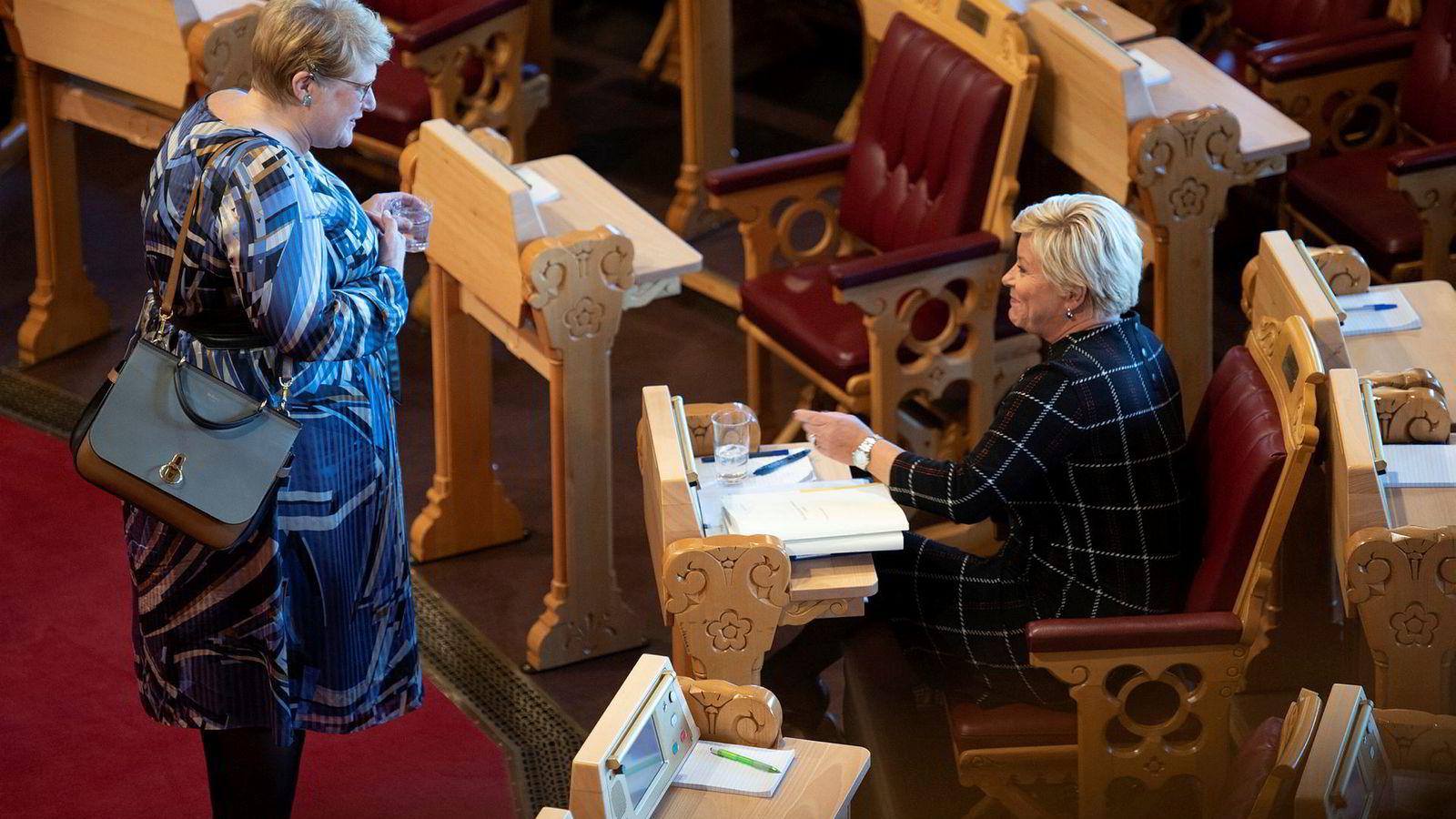 Finansminister Siv Jensen og Kultur- og likestillingsministeren Trine Skei Grande før fremleggelsen av statsbudsjettet for 2020.