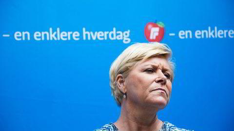 – Mange av dere har latterliggjort at Fremskrittspartiet går i bresjen for å fjerne forbud, sa Frp-leder og finansminister Siv Jensen da hun fredag møtte pressen på Mesh i Oslo for å oppsummere før sommeren.