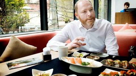 Sigmund Bjørgo, Norges sjømatråds fiskeriutsending i Kina, på restaurant Haiku i Shanghai. Foto: Per Ståle Bugjerde