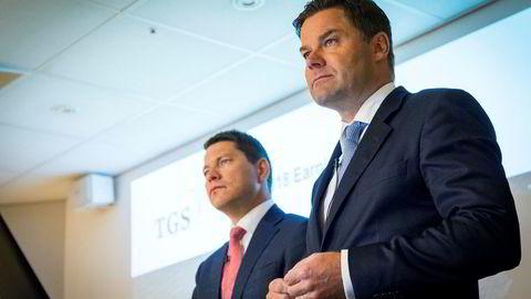 Konsernsjef Christian Johansen (t.h.) og finansdirektør Sven Børre larsen i TGS-Nopec.