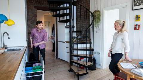Visningen som eiendomsmegler Thea Egeland fra Aktiv Sagene holdt i denne leiligheten på Sagene i Oslo for noen uker siden var bare én av mange visninger som Stian Hole Sæbø var innom denne våren. Foto: Skjalg Bøhmer Vold
