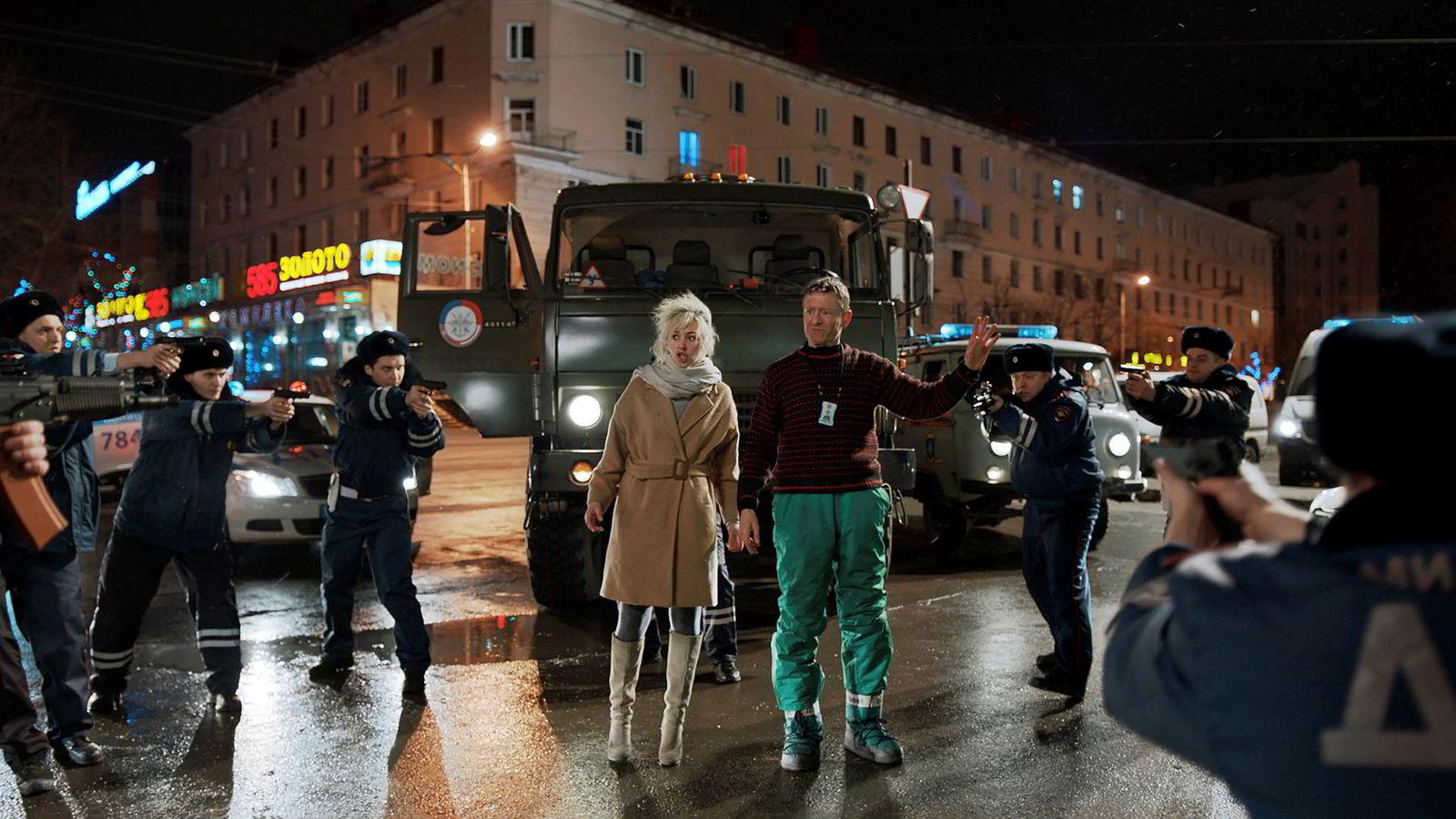 Skuespilleren Henrik Mestad (til høyre), her fra filmen «Børning», er blant filmfolkene som har skrevet under opprop for lavere karbonavtrykk fra filmbransjen.
