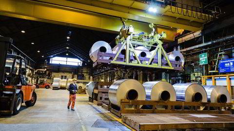 Her fra Hydro sitt anlegg for produksjon av Aluminium på Karmøy. Foto: Per Thrana