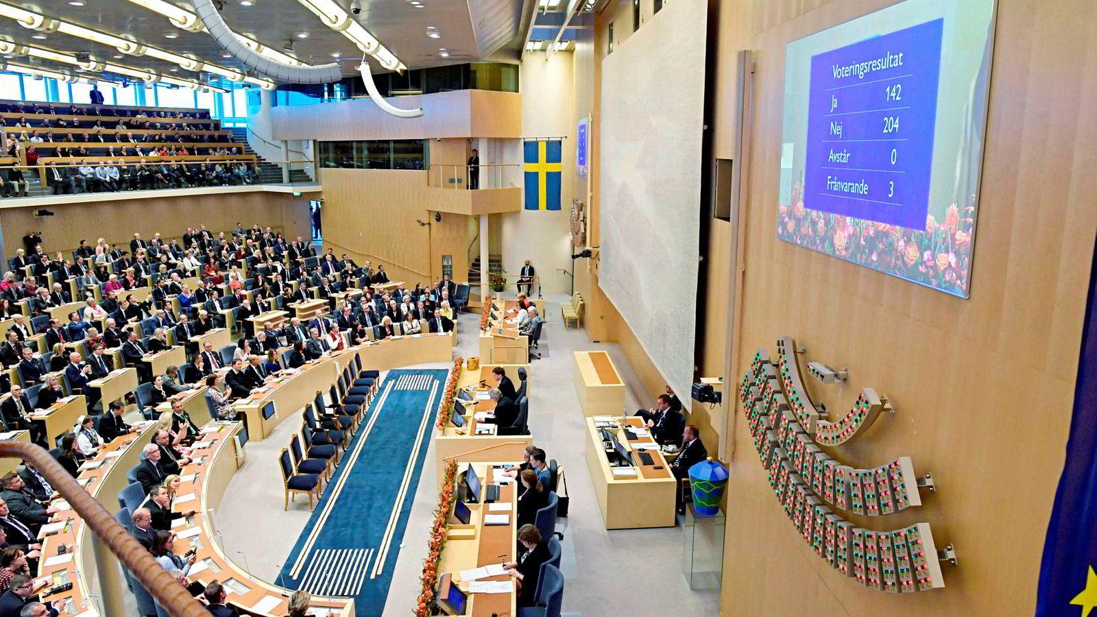 Resultatet etter avstemningen i Sveriges Riksdag om Statsministerstolen er klart. 204 av 349 riksdagsmedlemmer stremte mot  Löfven, 142 for.