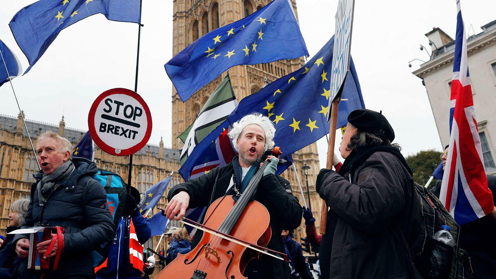 Tirsdag 15. januar, fra 20.00 og utover norsk tid, skal det britiske underhuset stemme over regjeringens plan for avskjed med Europaunionen. Men det er ikke slutten likevel. Her fra en anti-brexitdemonstrasjon i London i januar 2019.