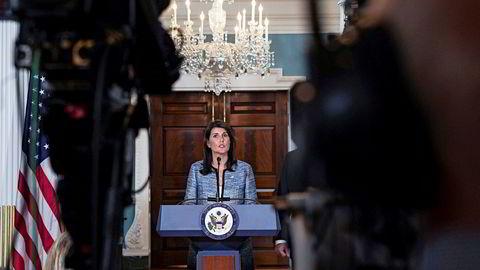 USAs FN-ambassadør Nikki Haley benyttet anledningen til å lange ut mot FNs menneskerettsråd da hun tirsdag kunngjorde landets beslutning om å trekke seg.