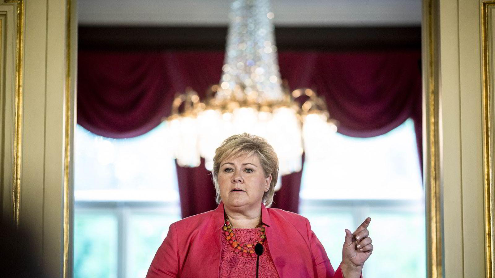 Statsminister Erna Solberg oppsummerte de to første årene.