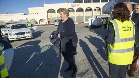 Statsminister Erna Solberg (H) ankom Malta onsdag. Foto: Elin Høyland
