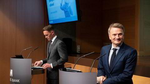 Visesentralbanksjef Egil Matsen (til høyre) og nestleder i Norges Bank Investment Management Trond Grande legger frem resultat for andre kvartal 2019.
