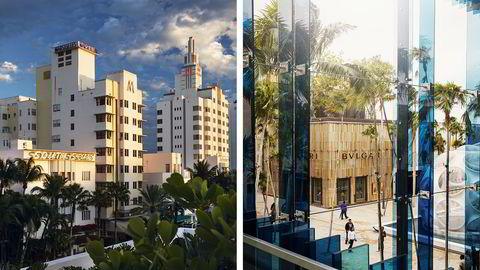 Hotellene langs Collins Avenue (venstre) er blant 800 art decobygninger på Miami Beach. I Design District (høyre) ligger luksusbutikkene på rekke og rad – alle med sin distinkte arkitektur som følger merkevaren. Kunstverket «Fly's Eye Dome» ble designet av Buckminster Fuller i 1965