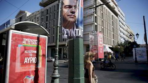 Aleksis Tsipras og Syriza har ifølge valgdagsmålingen vunnet valget.