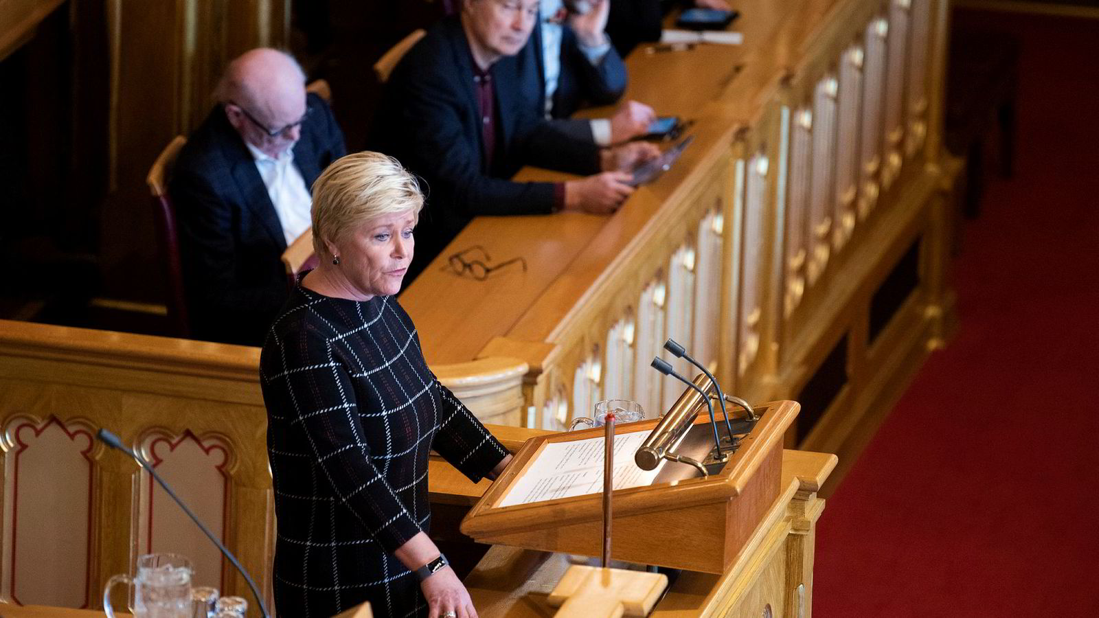 Finansminister Siv Jensen legger frem statsbudsjettet for 2020.