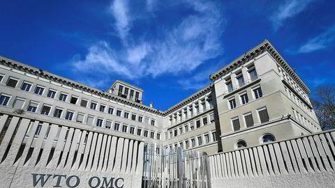 WTO mener den pågående handelskrigen mellom USA og Kina fører til økt usikkerhet, og er en trussel mot verdenshandelen. Bildet er av WTOs hovedkontor i Genève i Sveits.