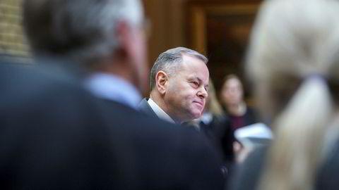Stortingspresident Olemic Thommessen pressekonferanse etter redegjøringen om den økonomiske sprekken i Stortingsbyggesaken.