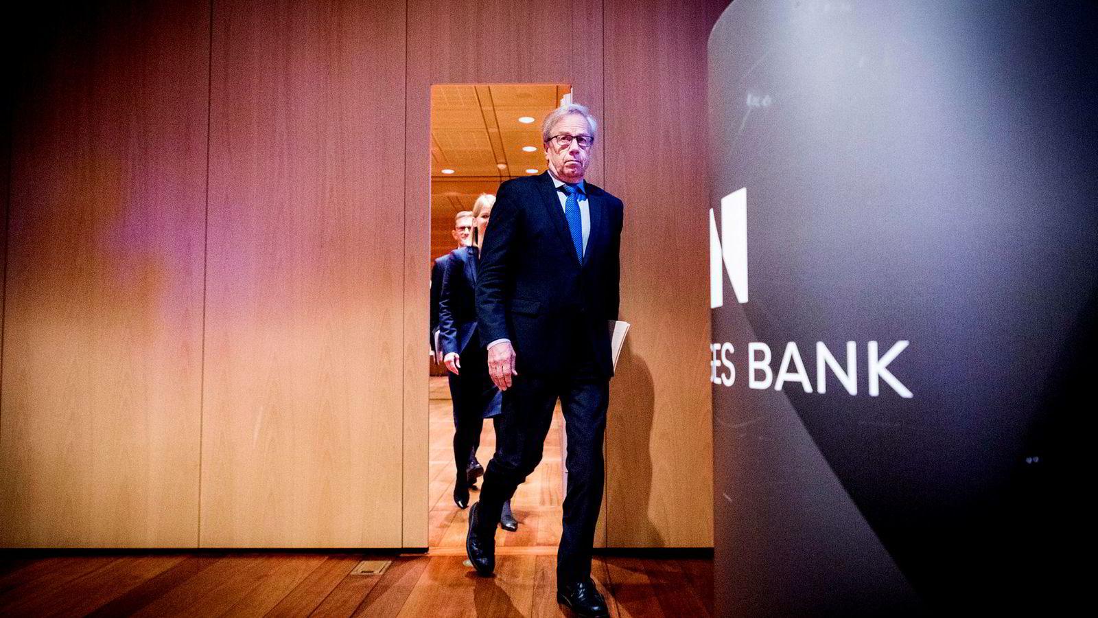 Sentralbanksjef Øystein Olsen presenterer pengepolitisk rapport. ---