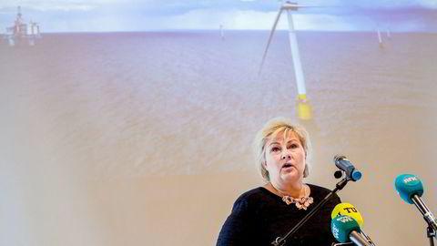 – Dette har det vært arbeidet med i flere år, vi har lenge ønsket å få havvindprosjektet realisert, sa statsminister Erna Solberg.