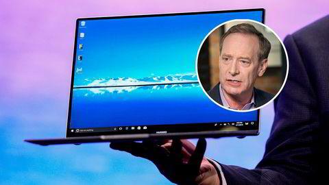 Huaweis bærbare datamaskiner MateBook-serien er blitt godt mottatt i Asia og Europa. Maskinene er avhengig av amerikanske komponenter og Microsofts Windows operativsystem. Microsoft juridiske direktør Brad Smith (innfelt) kritiserer Trump-administrasjonens sanksjoner mot det kinesiske selskapet.