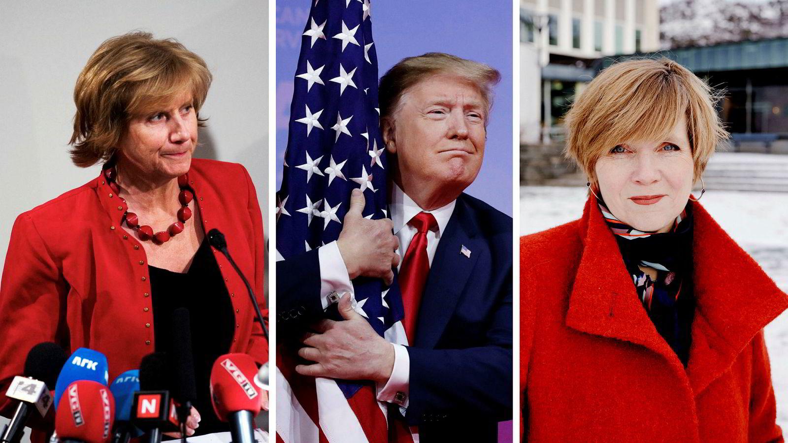 Det er ikke alle sjefer som er like gode til å lytte på råd. Fra venstre: tidligere LO-leder Gerd-Liv Valla, USAs president Donald Trump og tidligere SSB-direktør Christine B. Meyer.