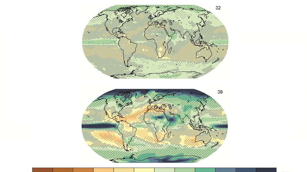 Utviklingen i nedbørsmengder ved to ulike utslippsscenarioer - lavutslippsscenariet som gir oppvarming under to grader, og utslipp på dagens nivå fremover. Utgangspunktet er gjennomsnittet mellom 1986 og 2005 og sluttpunktet er mellom år 2081 og 2100.