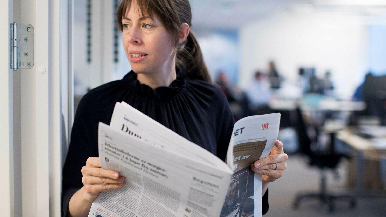 Det var Morgenbladet som tok prosjektet «Hele Norge snakker» fra Tyskland til Norge. Her er ansvarlig redaktør i avisen, Anna B. Jenssen