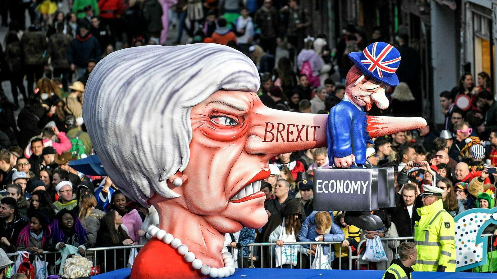 Under karnevalet i Düsseldorf tidligere denne måneden ble Storbritannias statsminister Theresa May og landets brexit-situasjon karikert.