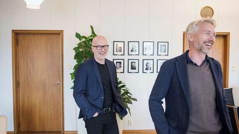 NRK-sjef Thor Gjermund Eriksen (t.v.) og TV 2-sjef Olav T. Sandnes hadde nettopp danset BlimE-dansen sammen, da de møtte DN på kringkastingssjefens kontor på NRK Marienlyst.
