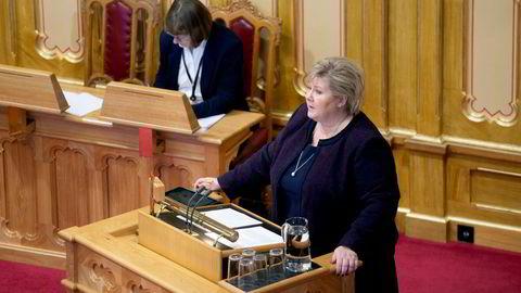 Statsminister Erna Solberg (H) har satt av hele dagen til å være til stede i salen når Stortinget behandler saken om objektsikring.