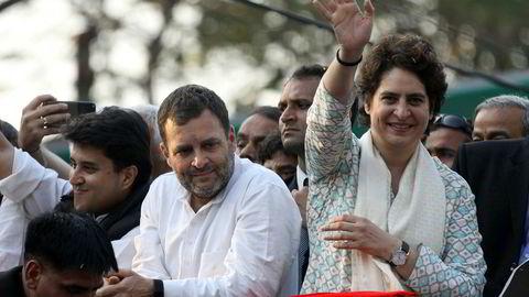 Søsknene Rahul og Priyanka Gandhi Vadra fronter valgkampen for Kongresspartiet i India, som er i opposisjon. Det kommende valget i India blir det dyreste i historien.