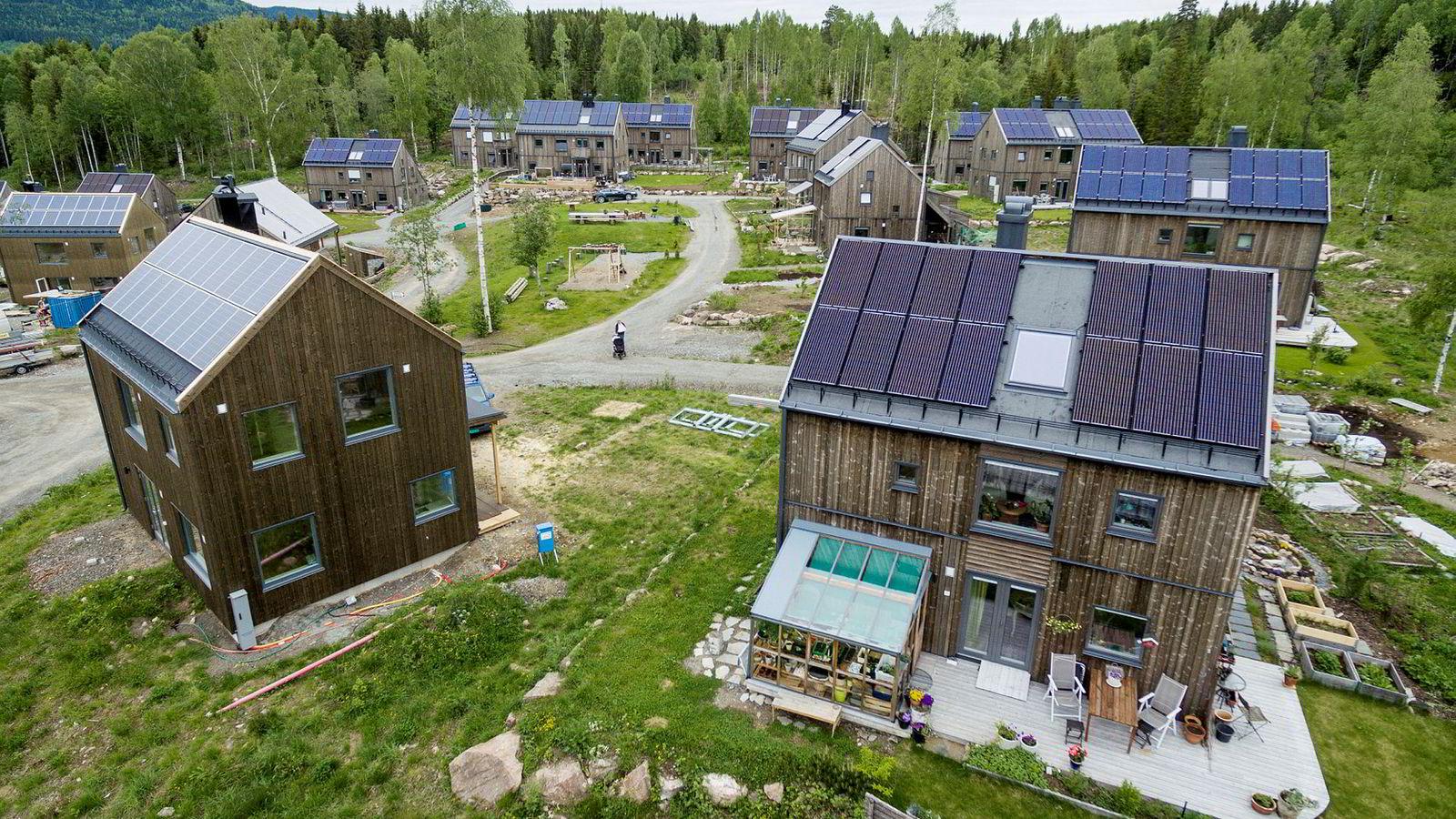 Beboerne i Økolandsbyen i Hurdal i Akerhus dyrker økologiske grønnsaker i hagen. Husene er nesten utelukkende bygget i trevirke og naturmaterialer og har solcellepaneler på taket for å være mest mulig selvforsynt med strøm.