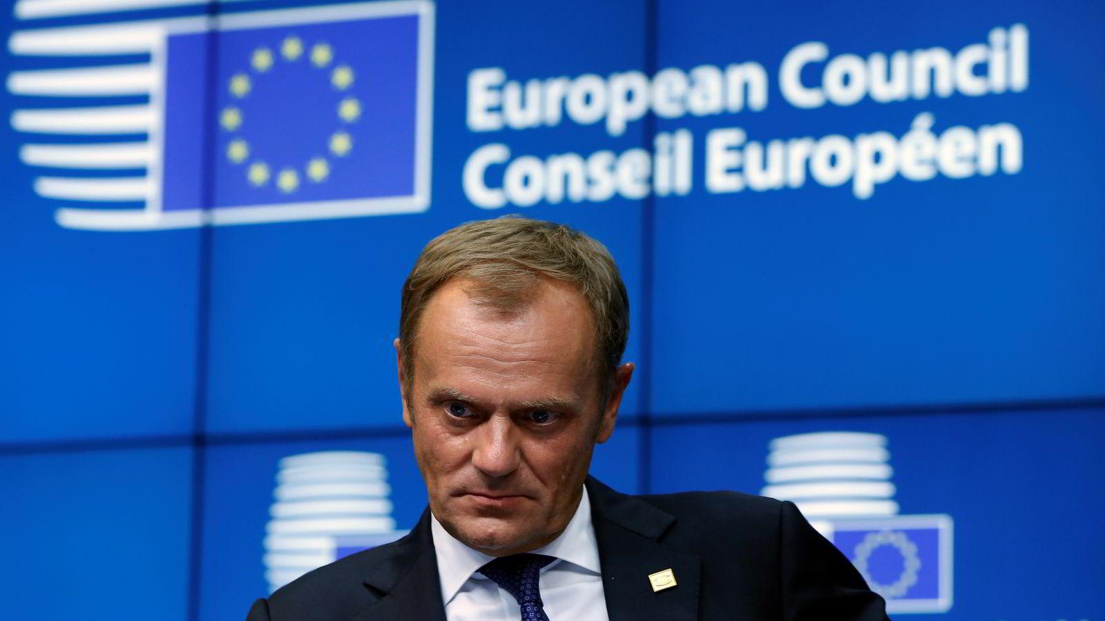 Polens statsminister Donald Tusk ble lørdag kveld valgt til EU-president. Foto: Yves Herman / Reuters / NTB scanpix