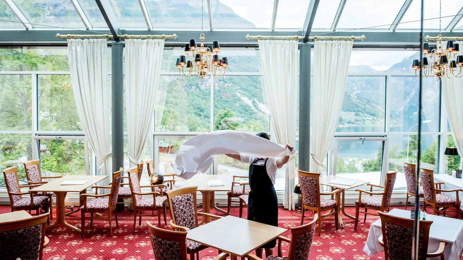 Utsikten fra restauranten til Hotel Union Geiranger er spektakulær.