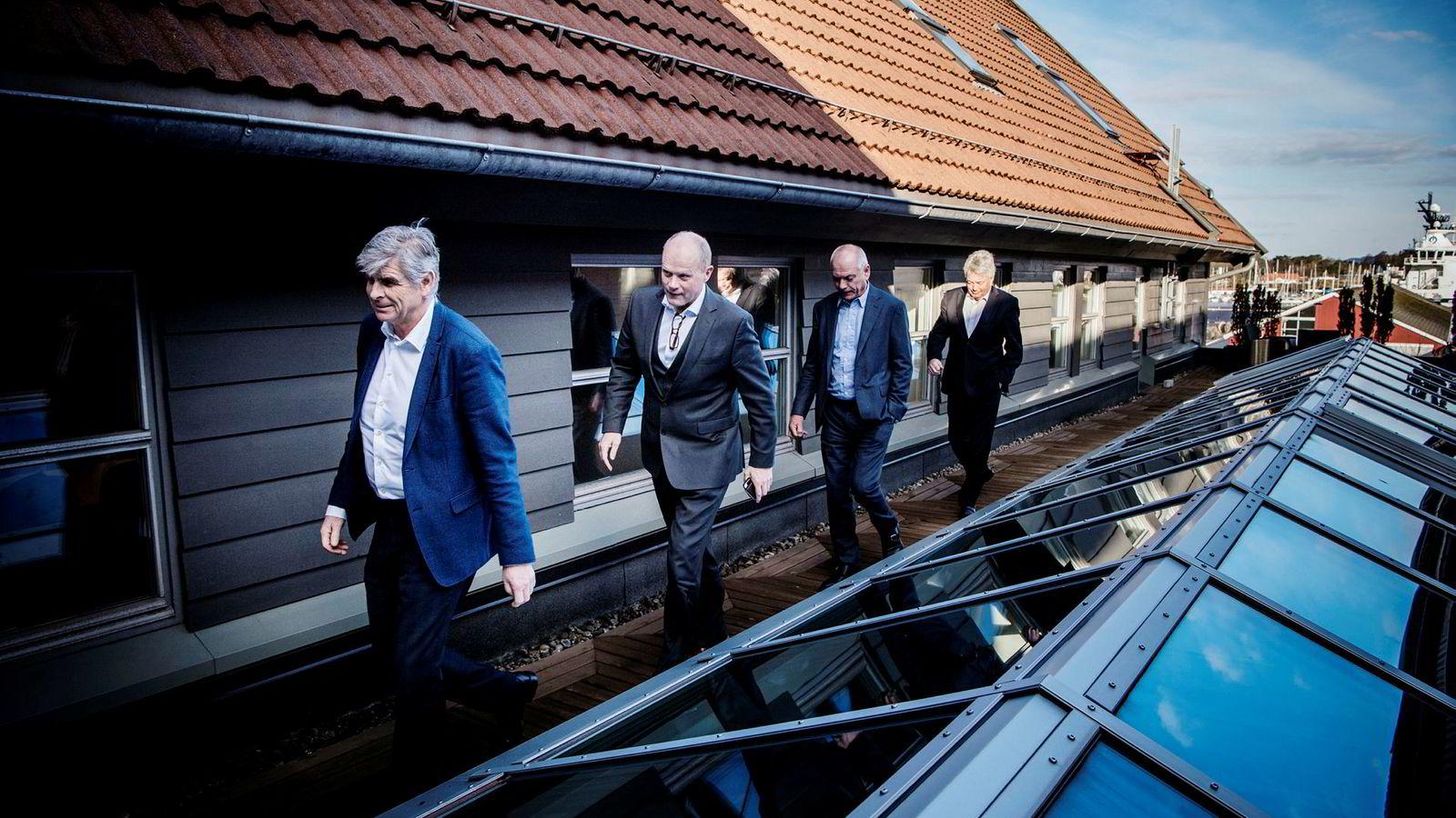 Jan Mikal Heiberg (fra venstre), Peder Sortland, Svein Arild Killingland og Thor Otto Lohne har betalt over en milliard kroner for nye ti prosent av gasseksportanlegget Nyhamna.