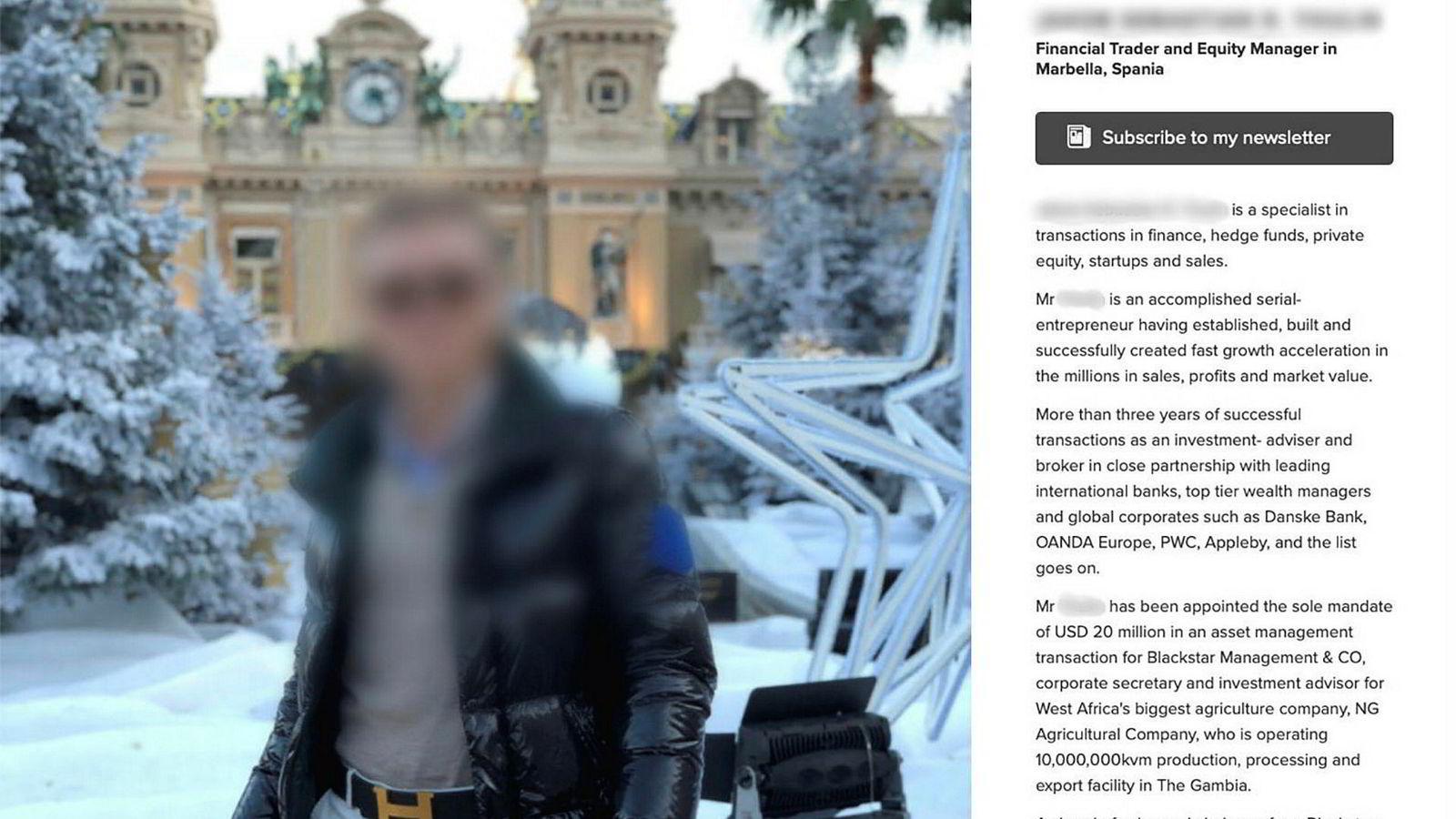 Finanstrader og kapitalforvalter i Marbella, Spania – slik fremstiller 19-åringen seg på sin egen nettside. Den ble lagt frem som bevis under erstatningssaken i Fredrikstad tingrett i april.
