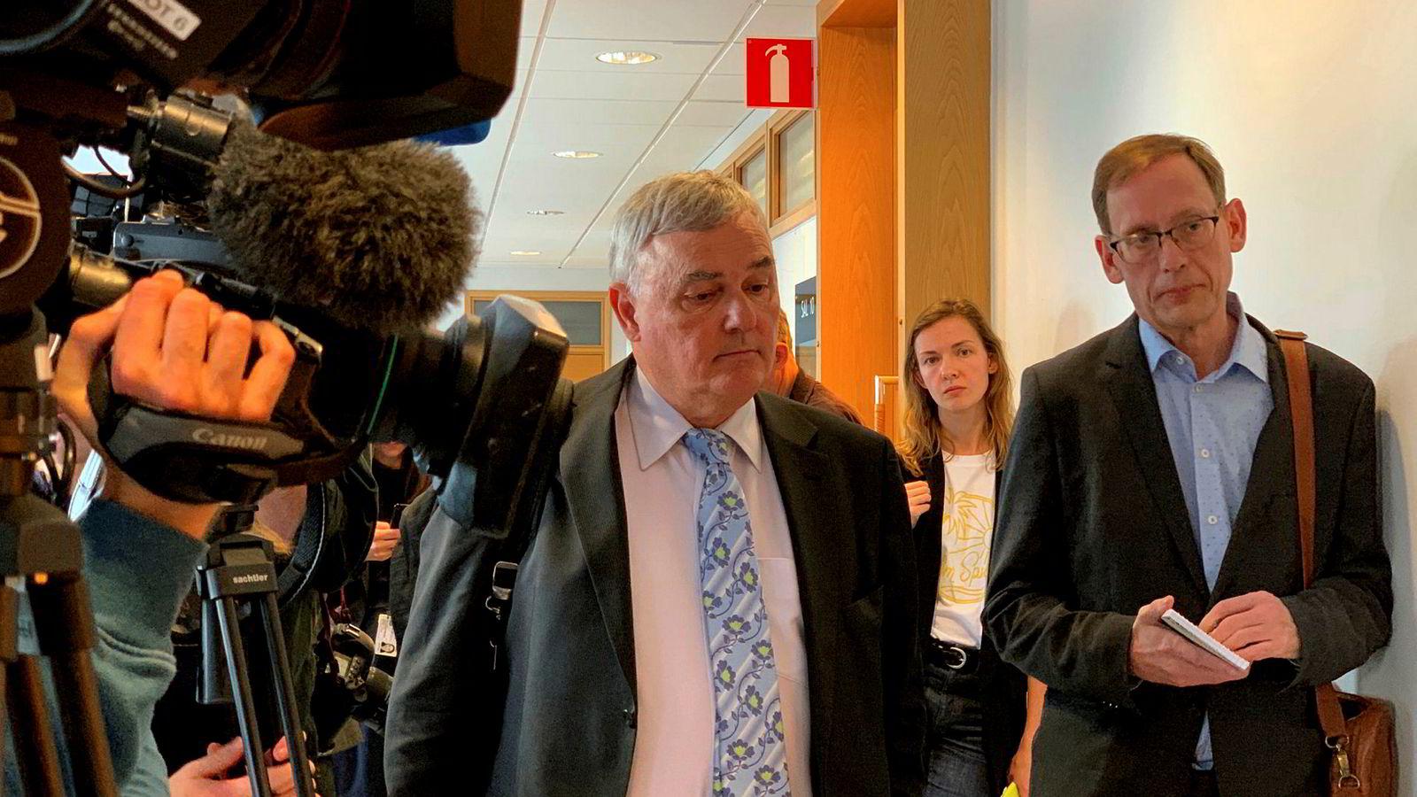 Julian Assanges advokat Per Samuelsson i retten i Uppsala mandag.