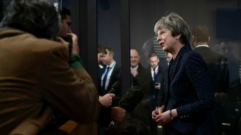 Har Storbritannias statsminister Theresa May en plan B? Her i EU-hovedkvarteret i Brussel lørdag.