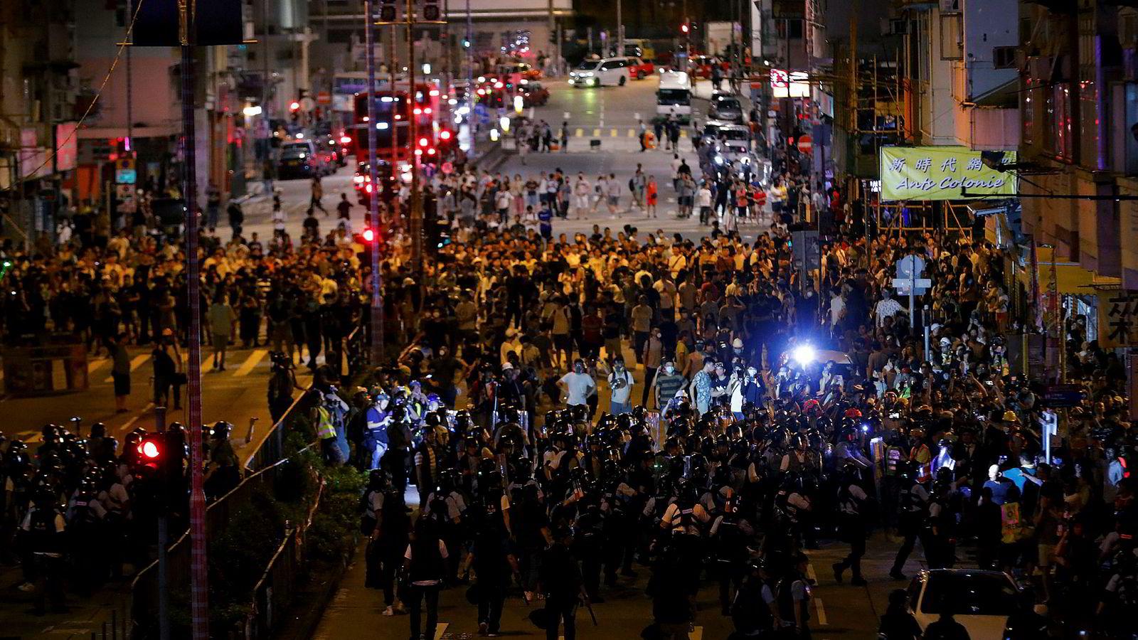 Gjennom fire måneder har store og små demonstrasjoner rammet Hongkong. Her fra en protest 7. august.
