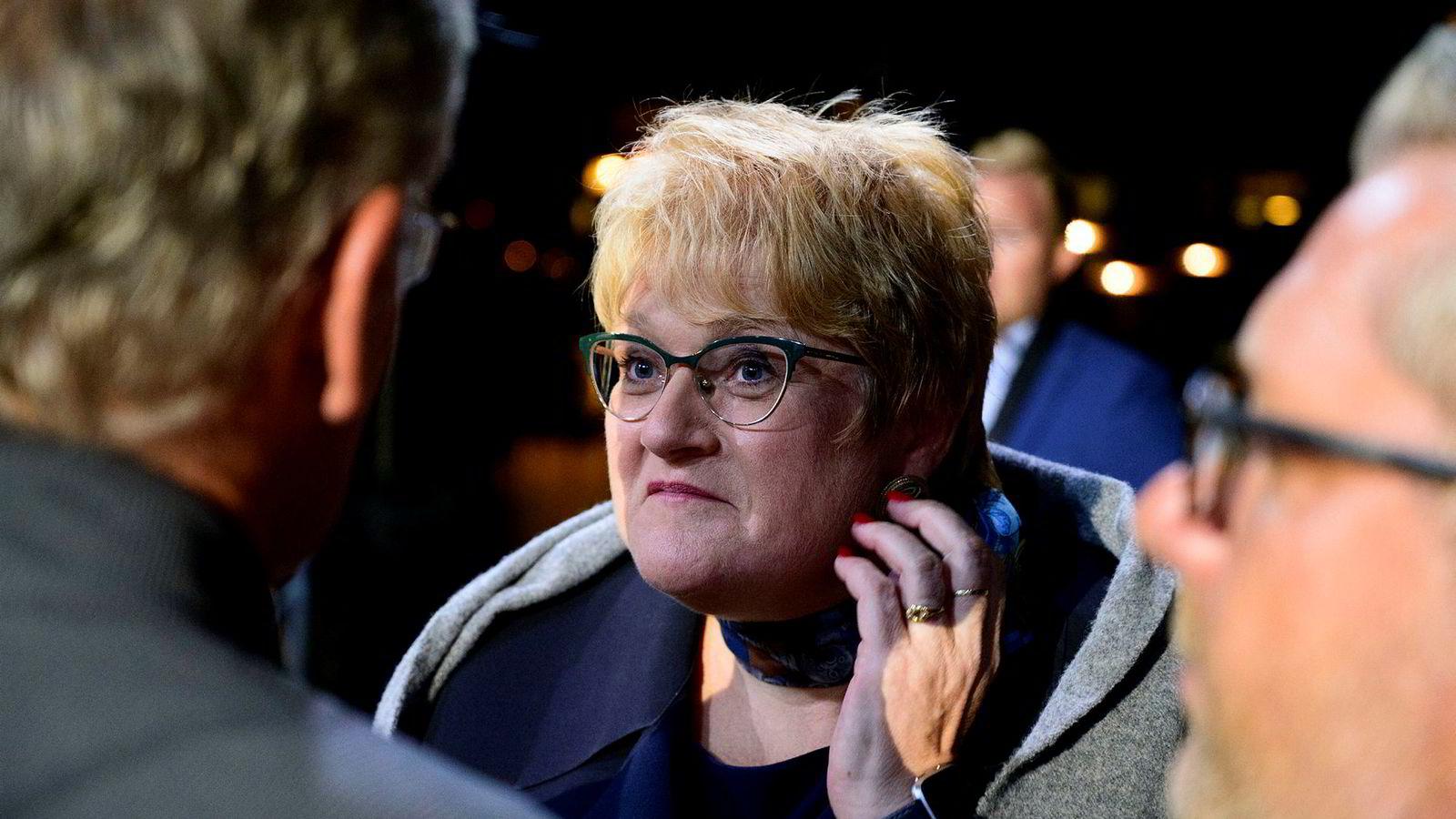Trine Skei Grande etter partilederdebatten i Arendal.
