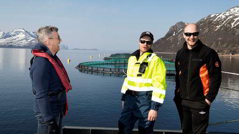 Lille Sjurelv Fiskeoppdrett med åtte ansatte i havgapet utenfor Tromsø er blant verdens meste lønnsomme fiskeoppdrettere. Fra venstre daglig leder Terje Harder Hansen i Sjurelv Fiskeoppdrett, røkter Lasse Hansen og røkter Anders Nysveen.