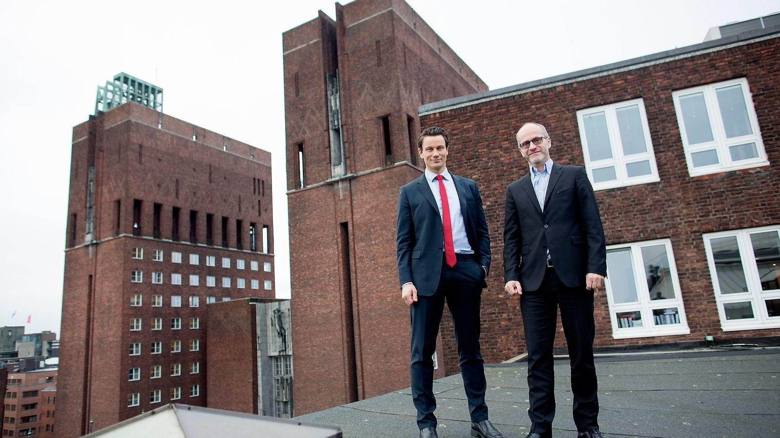 Wikborg Reins administrerende partnere Finn Bjørnstad (til høyre) og Geir Sviggum. Foto: