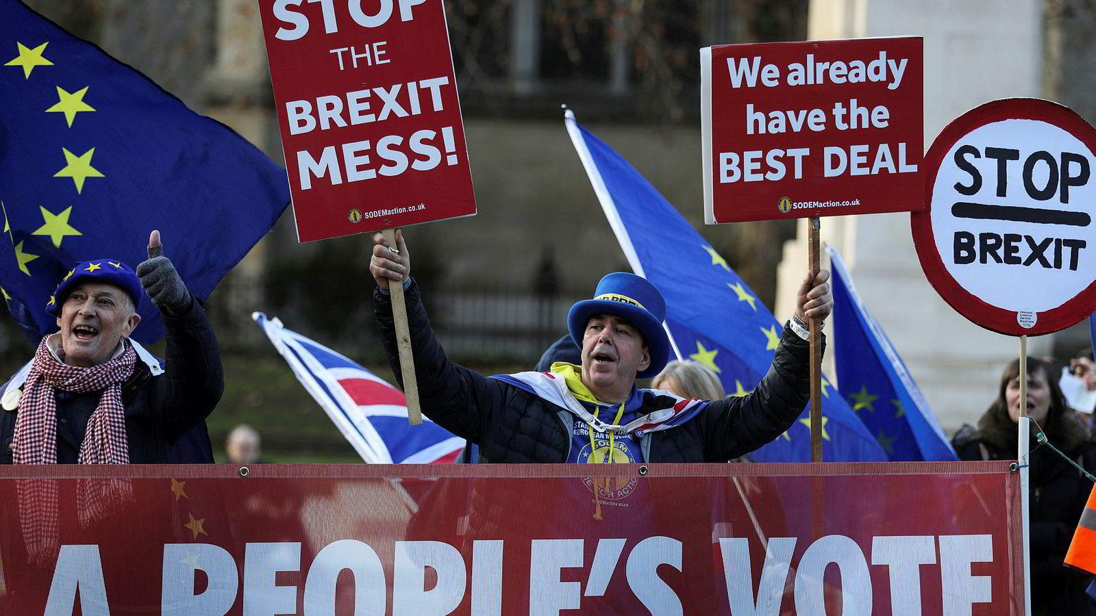 Anti-brexit-protestanter holder stand utenfor parlamentet i London fredag. Neste uke skal avtalen stemmes over.