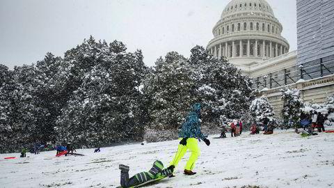 Washington har den siste uken vært dekket av snø. Til uken er temperaturene ventet å falle bratt igjen.