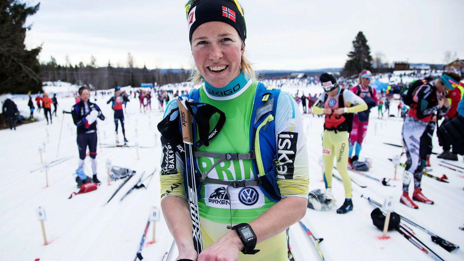 Astrid Øyre Slind (30) satser aktivt i langløpscupen Visma Ski Classics og har flere topplasseringer. Her like før start i Birken i 2017.