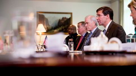 Forsvarsminister Mark Esper under et møte i Washington tidligere i uka