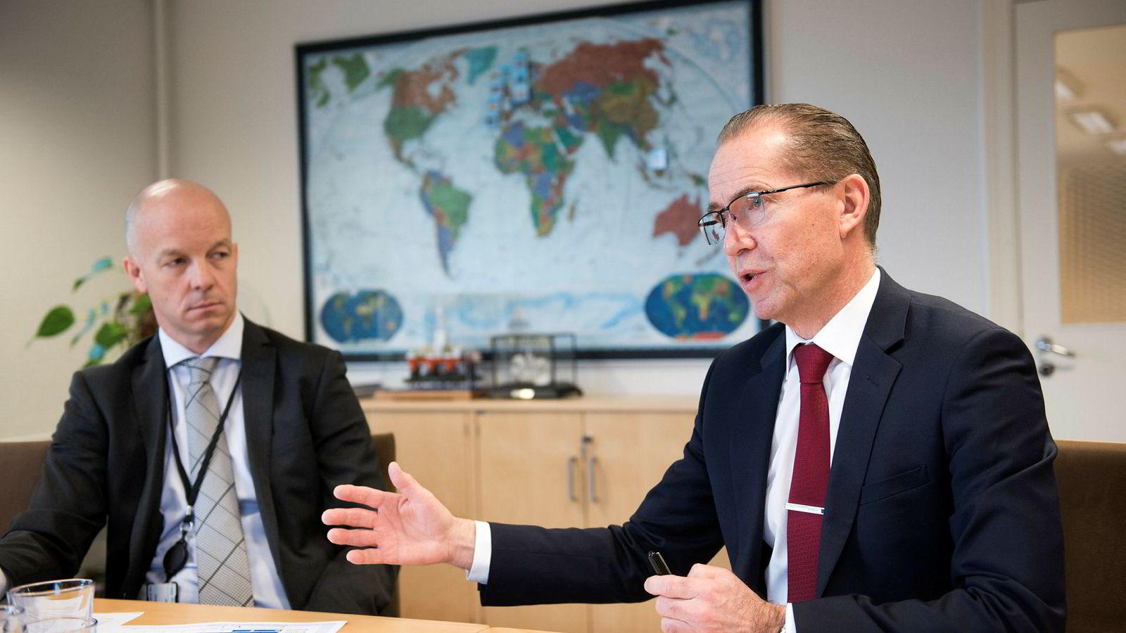 Administrerende direktør Ivar Brandvold i Fred. Olsen Energy (t.h.) og finansdirektør Hjalmar Krogseth Moe.